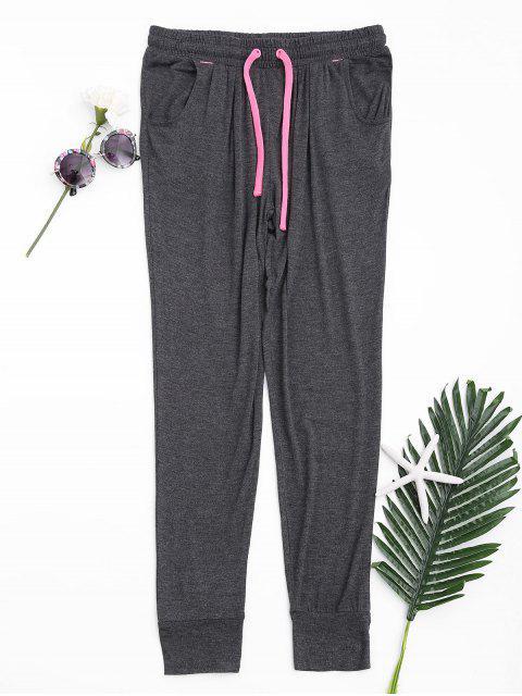 lady Contrast Drawstring Sweatpants - DEEP GRAY L Mobile