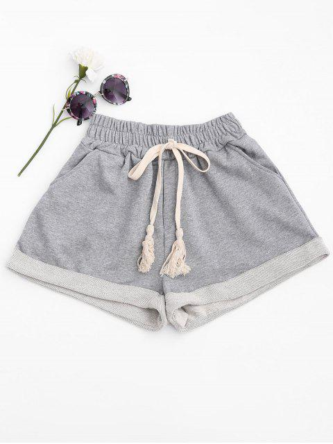 shops Cuffed Sweat Shorts - LIGHT GRAY S Mobile