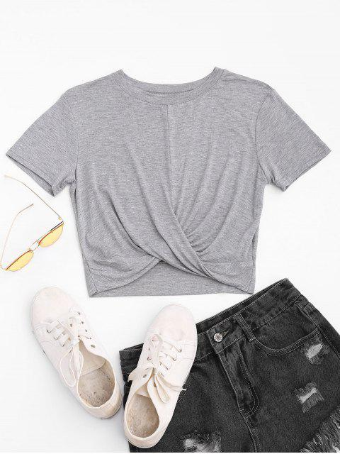 trendy Twist Cropped T-shirt - LIGHT GRAY M Mobile