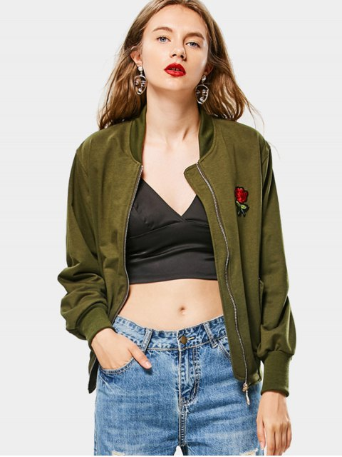trendy Zip Up Rose Embroidered Bomber Jacket - ARMY GREEN ONE SIZE Mobile