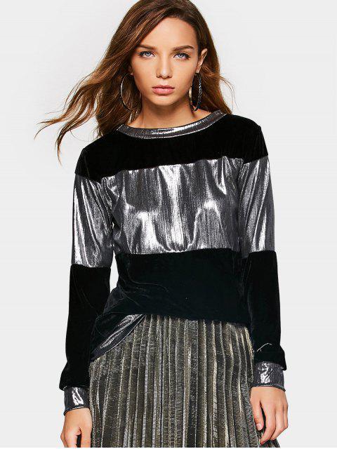 women Metallic Velvet Sweatshirt - BLACK XL Mobile