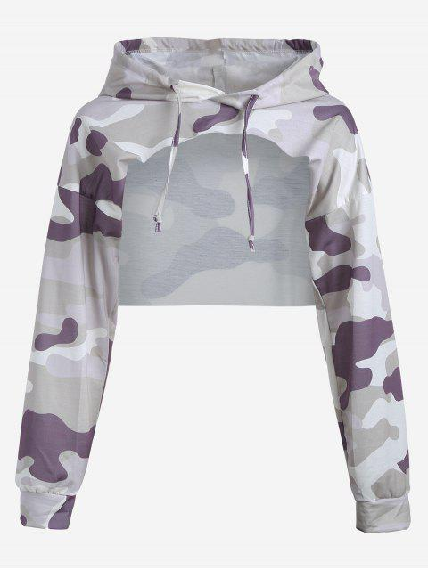women Cut Out Camouflage Crop Hoodie - CAMOUFLAGE S Mobile