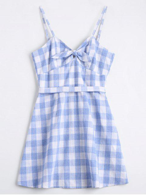 ladies Belted Bowknot Checked Mini Dress - CHECKED S Mobile