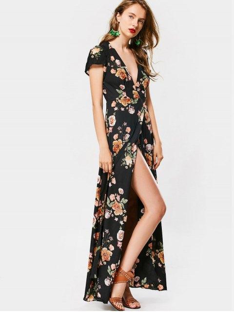 outfits Cap Sleeve Floral Wrap Maxi Dress - FLORAL L Mobile