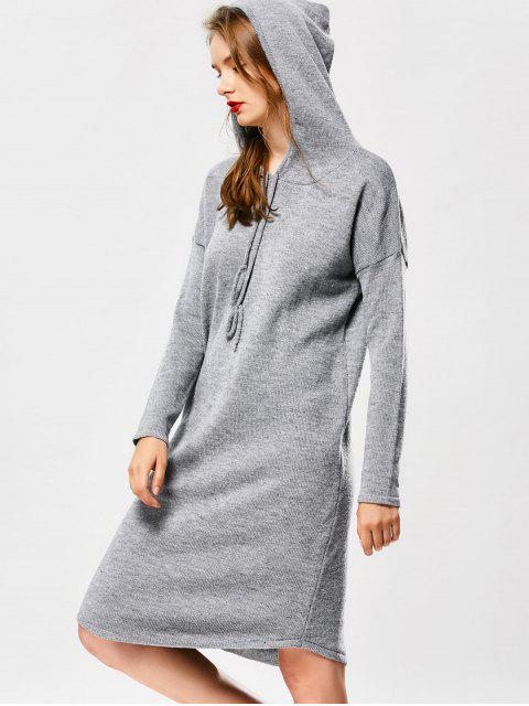 trendy Hooded Drawstring Sweater Dress - GRAY ONE SIZE Mobile