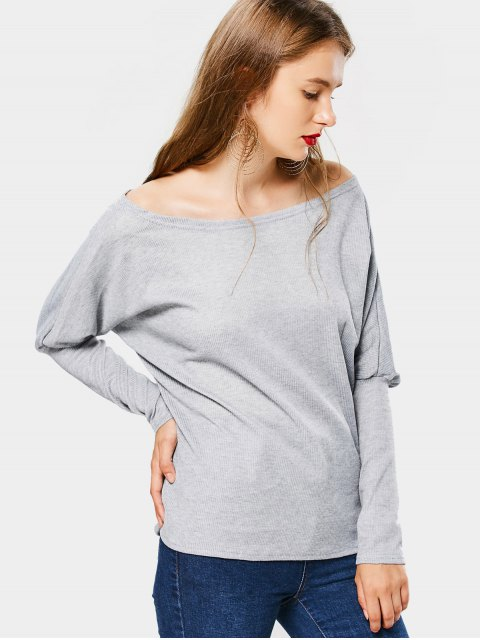 women's Loose Batwing Off Shoulder Knitwear - GRAY L Mobile