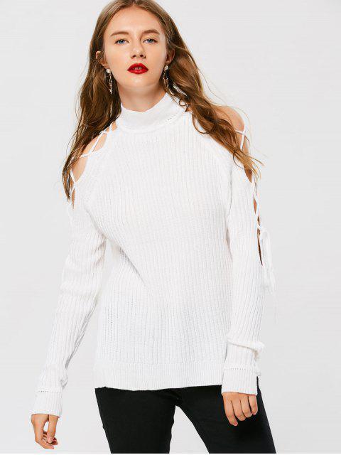 Pull Encolure Roulé à Lacets - Blanc Taille Unique Mobile