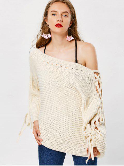 Suéter Gola Irregular com Enlaçado - Branco Quente Um Tamanho Mobile
