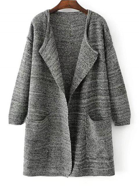 unique Open Front Heathered Knit Cardigan with Pockets - DEEP GRAY ONE SIZE Mobile