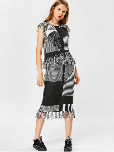 womens Striped Tassel Knitwear and Bodycon Skirt - BLACK ONE SIZE Mobile