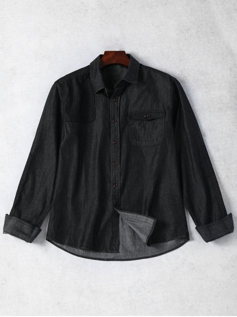 affordable Pocket Single Breasted Denim Shirt - BLACK L Mobile