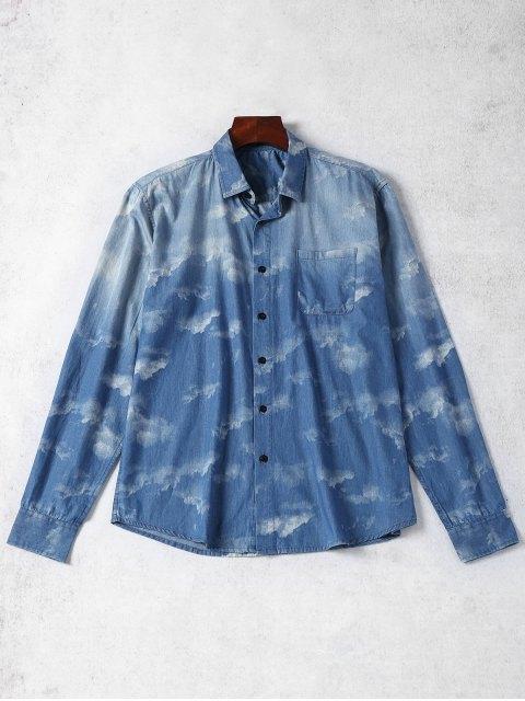 Camisa de mezclilla teñida lazo del bolsillo - Azul XL Mobile
