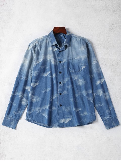 ladies Pocket Tie Dyed Denim Shirt - BLUE L Mobile