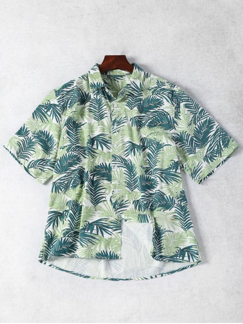 hot Half Sleeve Leaf Print Denim Shirt - FLORAL M Mobile