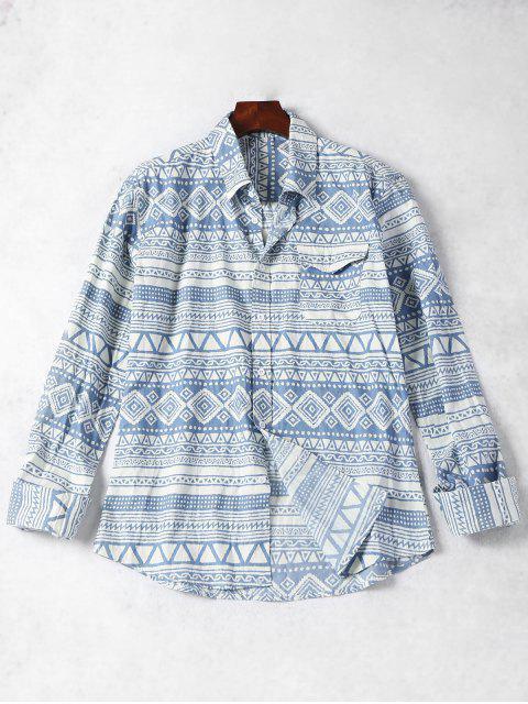 new Pocket Geometric Pattern Shirt - BLUE AND WHITE L Mobile