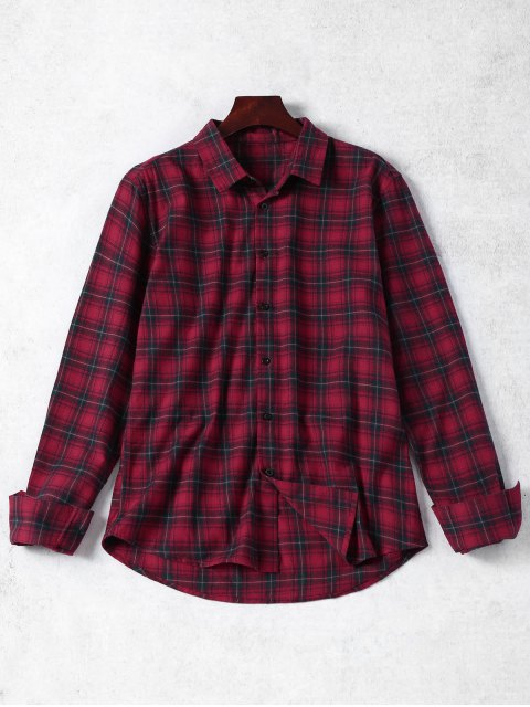 chic Checked Button Up Shirt - RED L Mobile