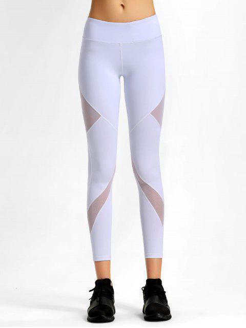 shop Mesh Stretchy Workout Leggings - WHITE S Mobile