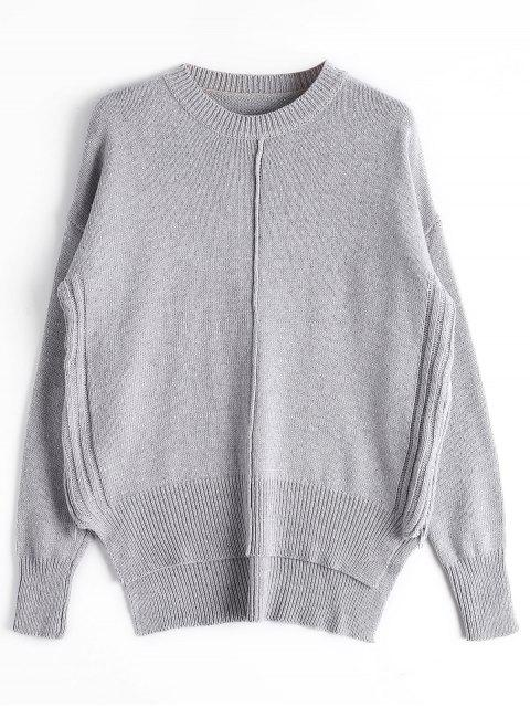 shop Loose Side Zip High Low Sweater - GRAY ONE SIZE Mobile