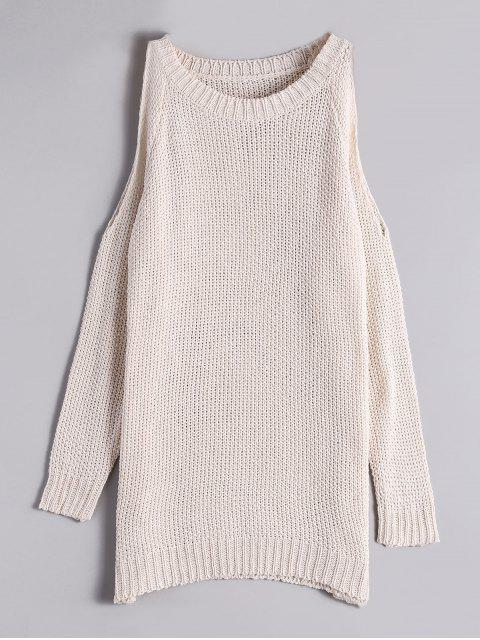 trendy Loose Long Cold Shoulder Sweater - OFF-WHITE ONE SIZE Mobile