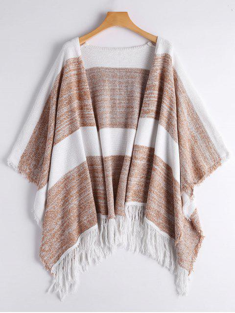 womens Two Tone Cape Tassels Open Front Cardigan - STRIPE ONE SIZE Mobile