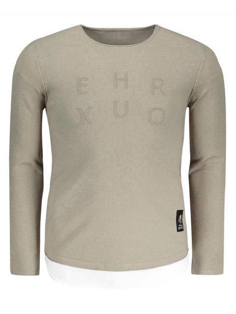 affordable Contrast Trim Mens Sweater - KHAKI 2XL Mobile