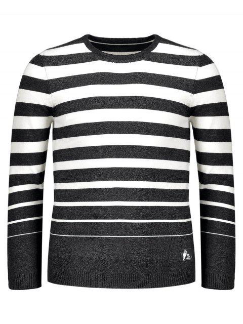 womens Crew Collar Stripe Sweater - BLACK 2XL Mobile
