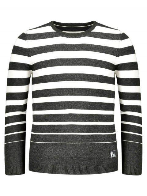women's Crew Collar Stripe Sweater - COFFEE 2XL Mobile