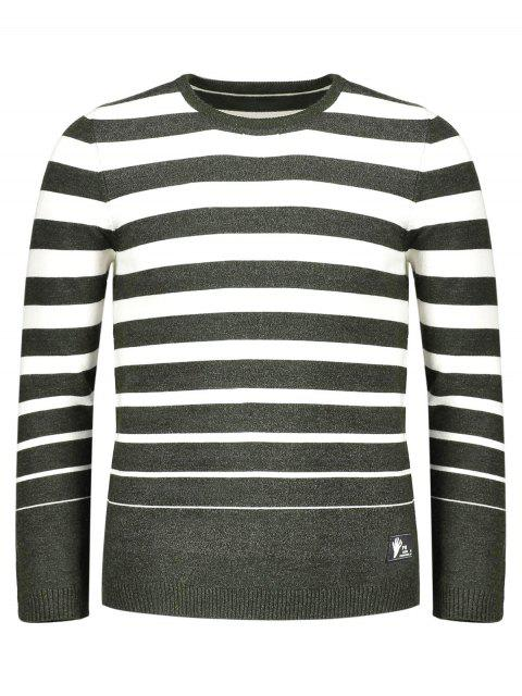 lady Crew Collar Stripe Sweater - GREEN 2XL Mobile