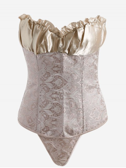 womens Jacquard Lace-up Strapless Bra Corset - CHAMPAGNE GOLD S Mobile