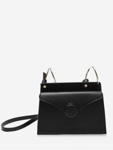 Faux Leather Metal Rings Crossbody Bag - Noir  Mobile