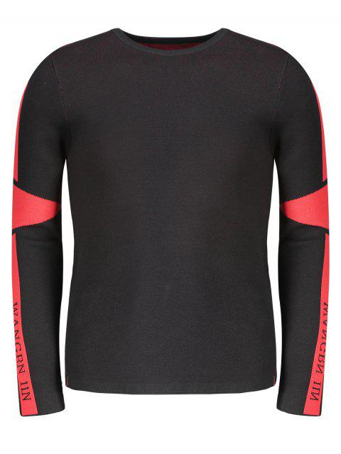 womens Two Tone Sweater - RED WITH BLACK 2XL Mobile
