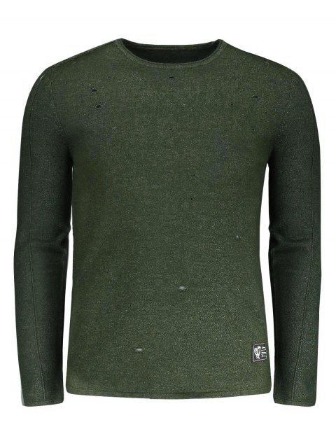 women's Cotton Distressed Sweater - ARMY GREEN 2XL Mobile