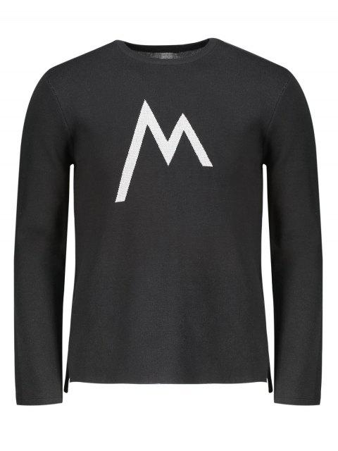 shops Crew Neck Graphic Sweater - BLACK 2XL Mobile