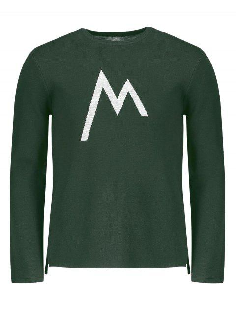 trendy Crew Neck Graphic Sweater - GREEN 2XL Mobile