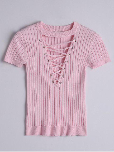 ladies Ribbed Knit Lace Up Top - PINK M Mobile