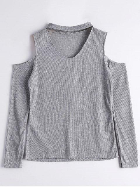 latest Knitted Cold Shoulder Choker Top - GRAY XL Mobile