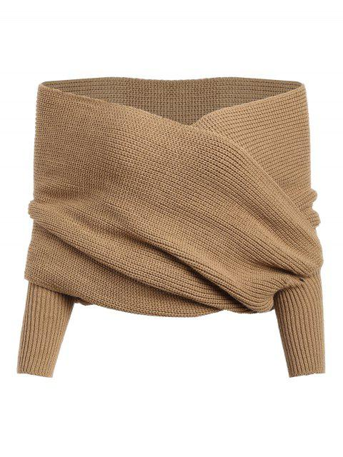 ladies Crossed Front Chunky Wrap Sweater - COFFEE ONE SIZE Mobile