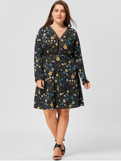 shops Plus Size V Neck Floral Long Sleeve Dress - PURPLISH BLUE 3XL Mobile