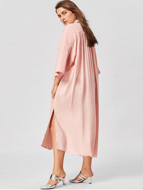 unique Plus Size Flare Sleeve Shirt Dress - NUDE PINK 4XL Mobile