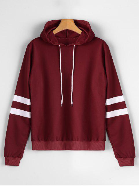 trendy Casual Stripes Panel Hoodie - WINE RED S Mobile