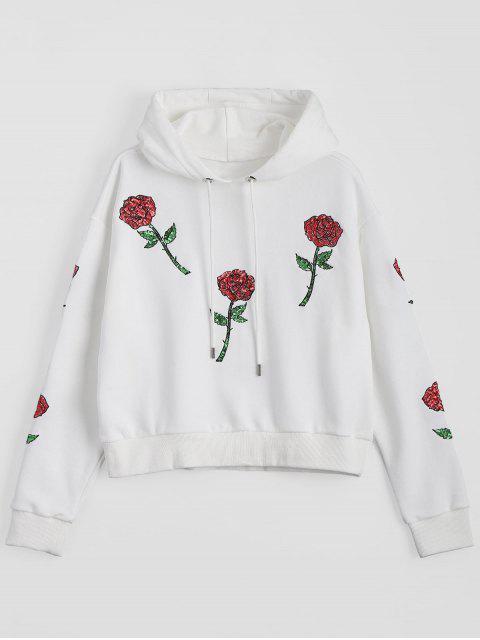 Sweat à Corde Motifs Floraux à Paillettes - Blanc L Mobile