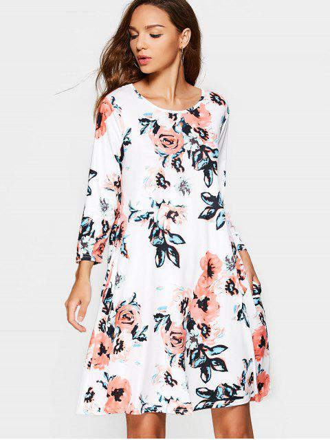 Robe Droite à Fleurs à Manches Longues avec Poches - Blanc XL Mobile