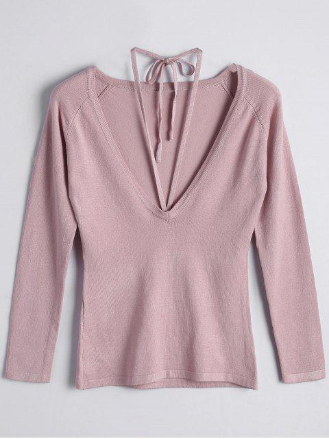 Pull Col Scoop à Lacets - Rose  M Mobile