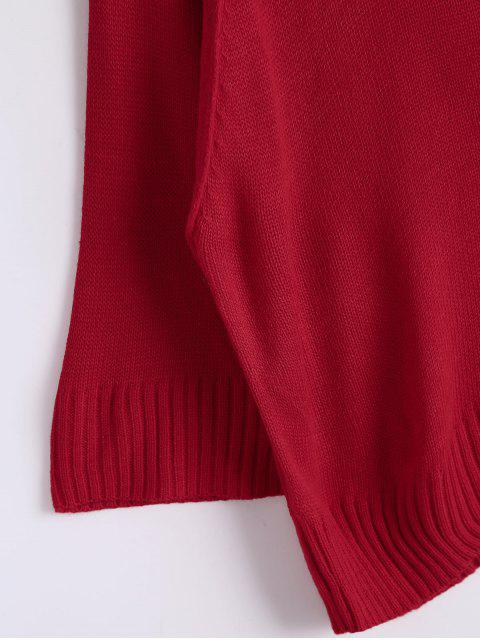 affordable Loose Casual Raglan Sleeve Sweater - RED ONE SIZE Mobile