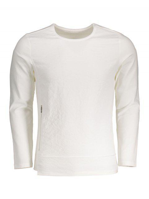 Haut à manches longues en coton zippé - Blanc 3XL Mobile