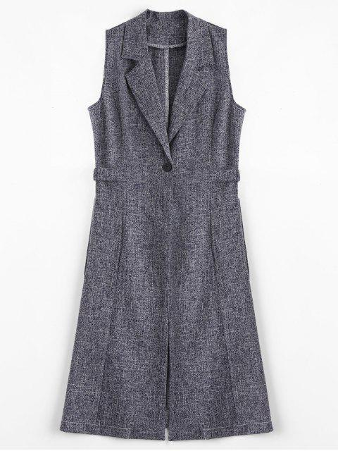 fashion Metal Rings High Slit Long Waistcoat - CADETBLUE/GRAY M Mobile