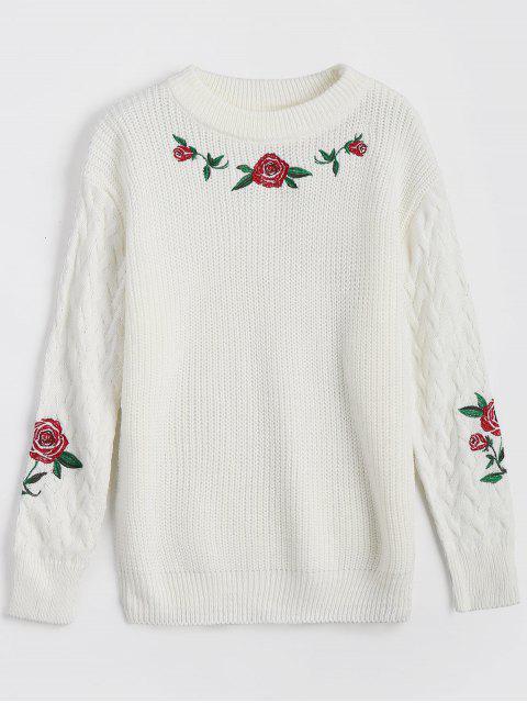 Blumen Bestickter Chunky Pullover - Weiß Eine Größe Mobile