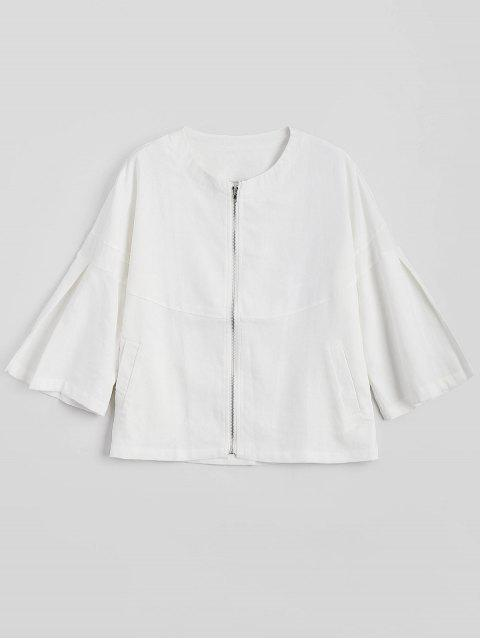 lady Zip Up Flare Sleeve Jacket - WHITE M Mobile