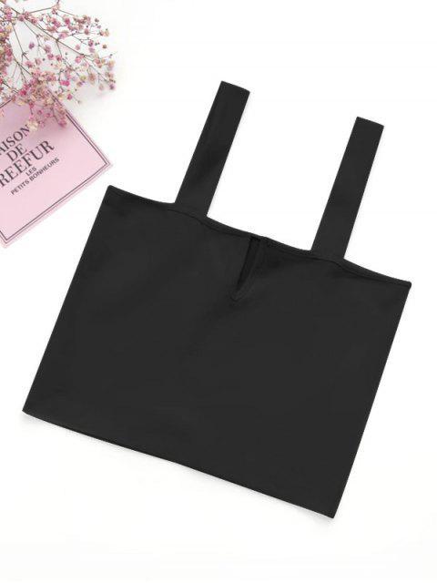 ladies Casual Straps Crop Top - BLACK M Mobile