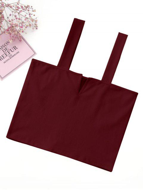 online Casual Straps Crop Top - BURGUNDY S Mobile